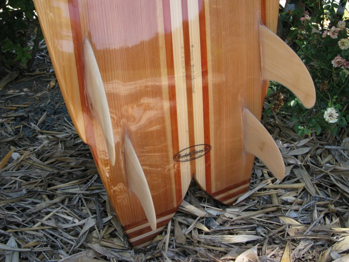 Bob Merson hollow wood quad fish, Marlon Bacon bamboo fins photo: Merson