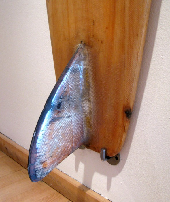 Al Nelson balsa single fin (late 1950's) Surf Craft exhibit Mingei International Museum photo: Merson