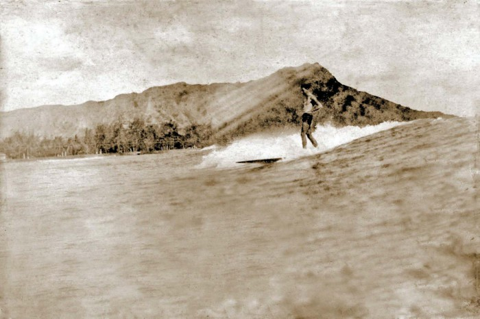 Hawaiian surfing, solid wood finless board