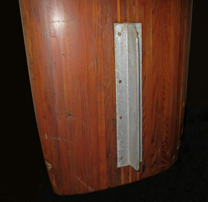 Solid wood board with aluminum keel fin (late 1930's) Surfing Heritage & Culture Center collection photo: Merson