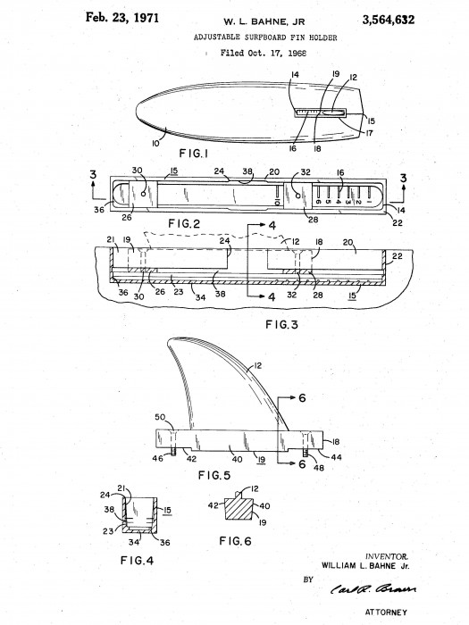W. L. Bahne adjustable fin holder patent (1971)