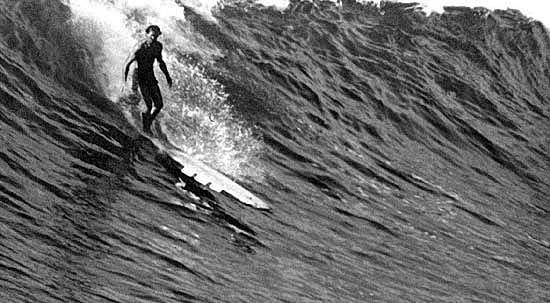 Tom Blake on hollow board (early 1930's) photo: Ball