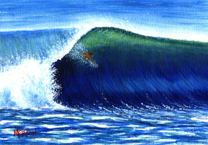 """Free Surf"" watercolor on paper artist: Bob Merson"