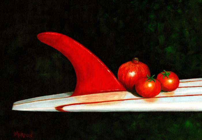 """Red Fin"" oil on canvas artist: Bob Merson"